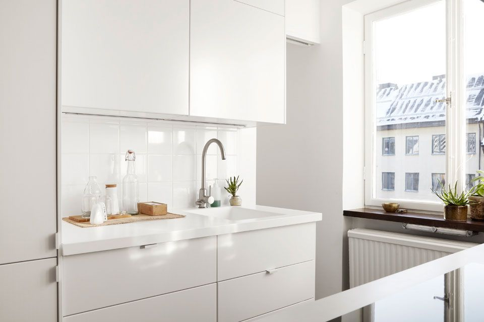 Modern White Kitchens Ikea minimalist and airy apartment | scandinavian decorating