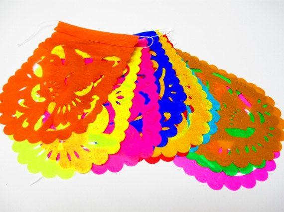 Mini banner 4 feet long mexico fiesta banners cinco de mayo decor papel picado wedding - Dulce hogar villalba ...