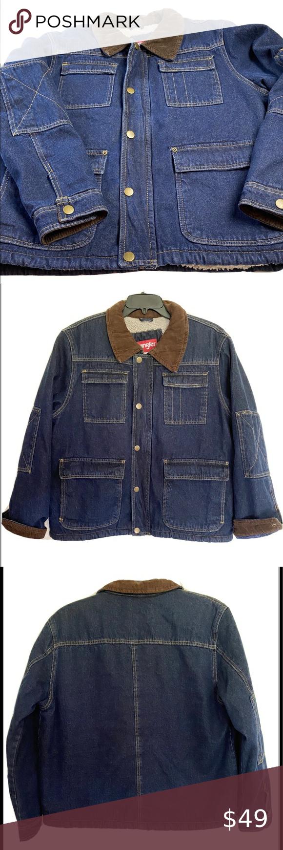Wrangler Men S Sherpa Denim Jean Jacket Coat Sz L Sherpa Lined Denim Jacket Lined Denim Jacket Denim Jean Jacket [ 1740 x 580 Pixel ]