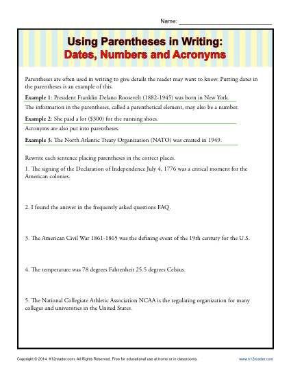 Using Parentheses in Writing: Dates, Numbers and Acronyms ...