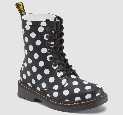 DOC MARTENS: DRENCH COLOR: BLACK+WHITE MATERIAL: SPOTS VULCANISED RUBBER PRODUCT CODE: 15219003 $100.00