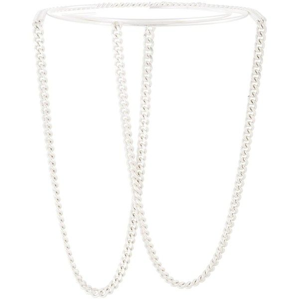 Maison Margiela chain link choker necklace (463.565 CLP) ❤ liked on Polyvore featuring jewelry, necklaces, metallic, strand necklace, maison margiela, choker jewelry, chain link necklace and chain link choker necklace
