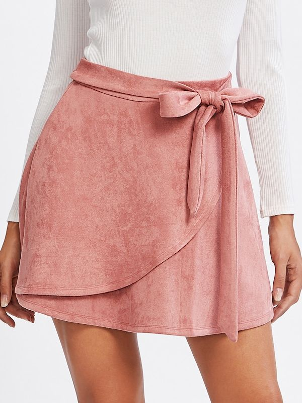 Suede skirt with self belt – German SheIn (Sheinside)