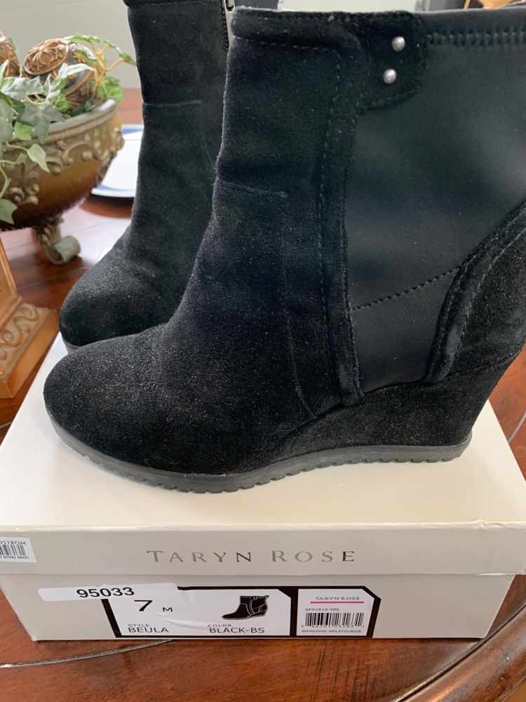 f3be1fde310d TARYN ROSE BEULA BLACK SUEDE WEDGE ANKLE BOOTS 7M  fashion  clothing  shoes   accessories  womensshoes  boots (ebay link)