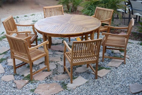 Teak Patio Set Large Round Table 6 Armchairs Outdoor Furniture All New Large Round Table Patio Set Outdoor Furniture