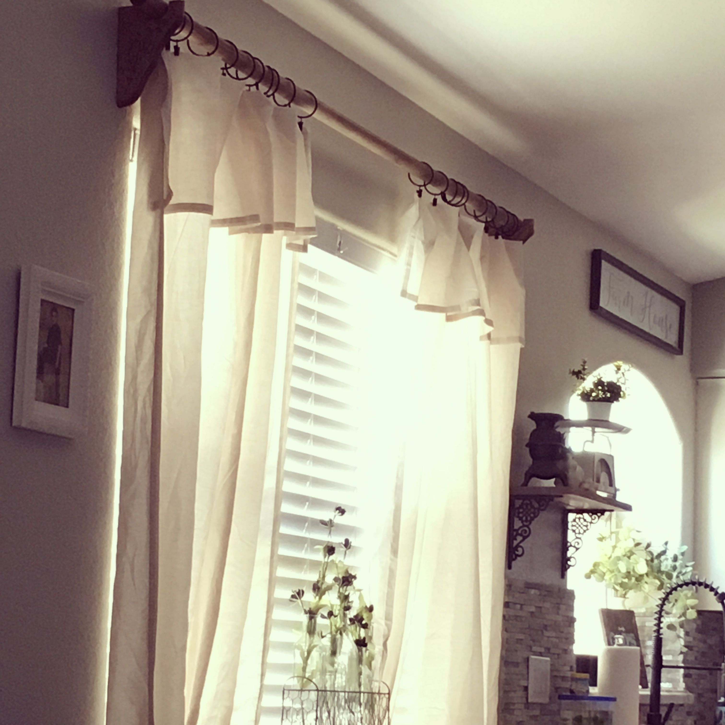 Farmhouse Curtains I Copied The Curtain Rod From Restoration