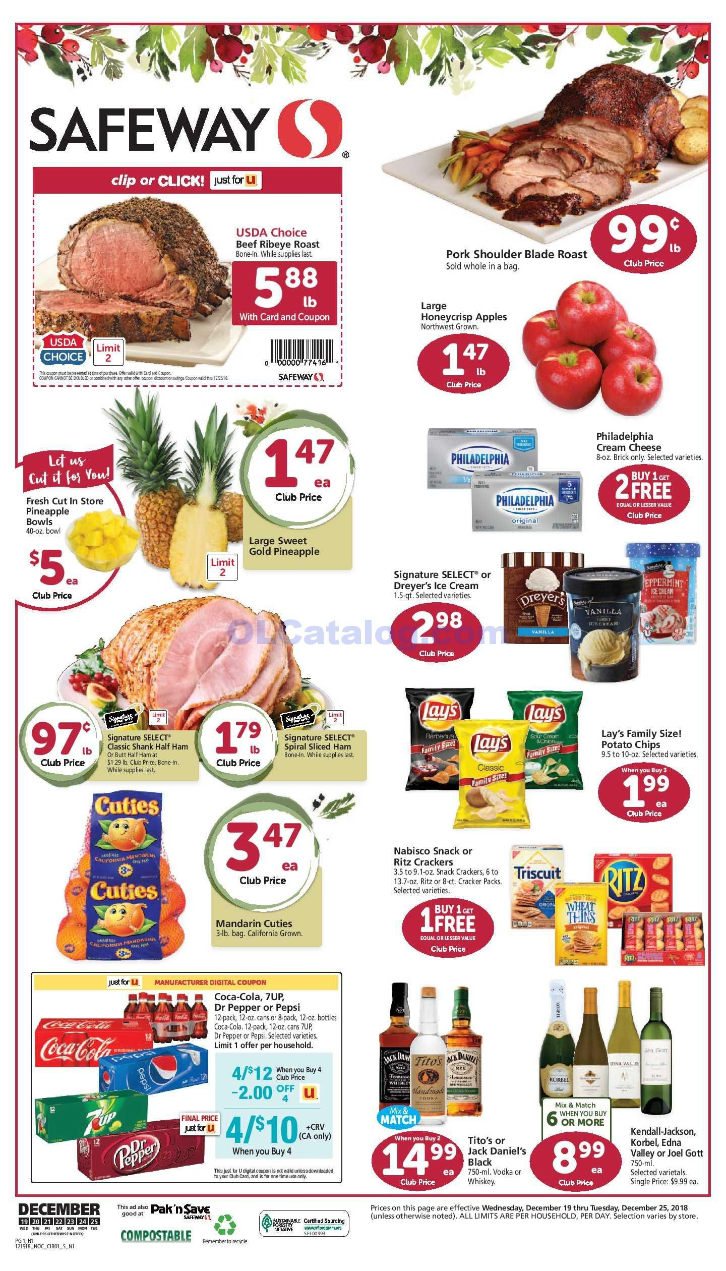 Safeway Weekly ad December 19 25, 2018. Find Latest