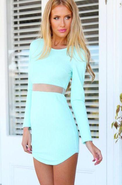 Sheer Mesh Crop Top Bodycon Dress