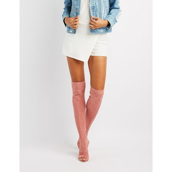 dc8b98f9b96 Charlotte Russe Peep Toe Lucite Heel Thigh-High Boots ( 36) ❤ liked ...