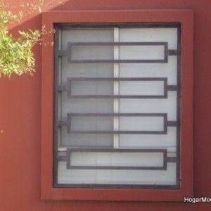 Estilo moderno de reja de ventana muebles pinterest for Puertas metalicas para casas modernas