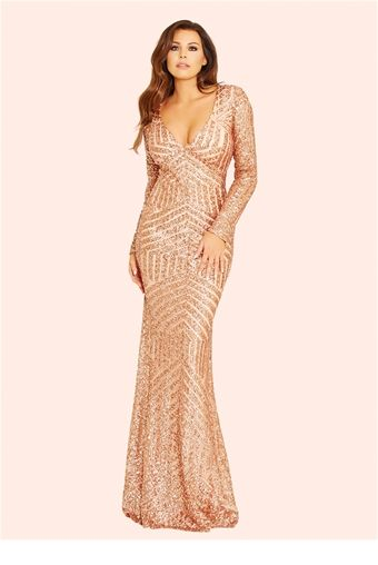 f100c20f88 This ultra-sexy maxi dress features stunning sequin embellished detailing  all over in rose gold