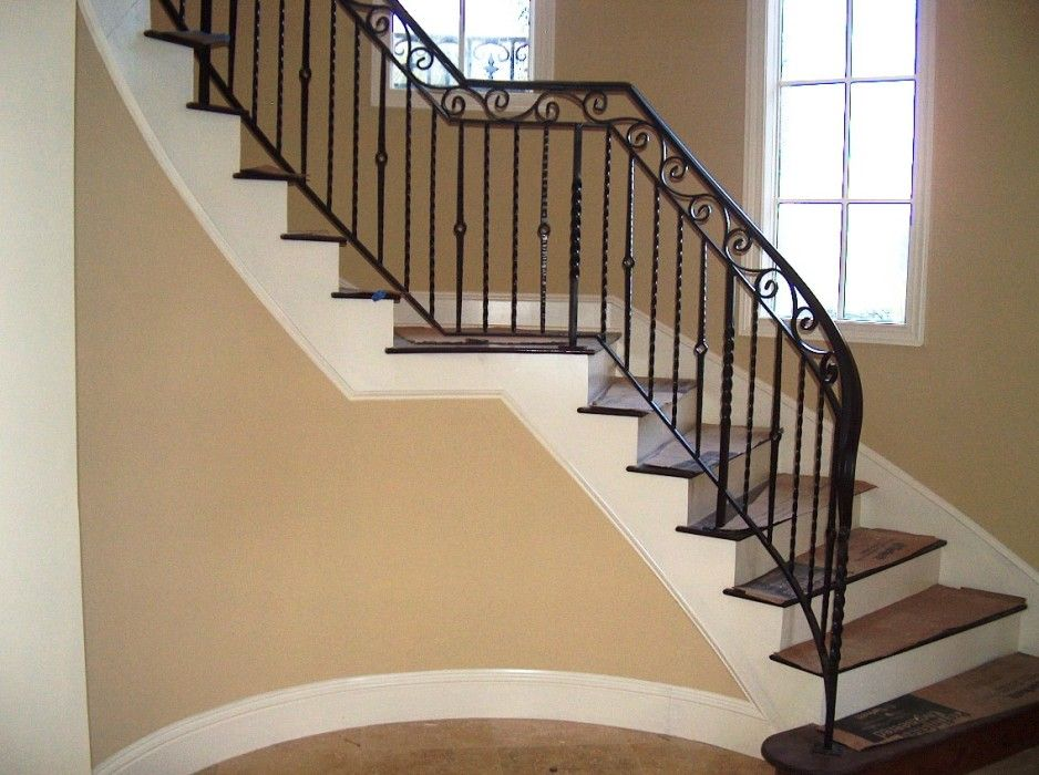 Beauteous Modern Black Wrought Iron Stair Railings Interior Design