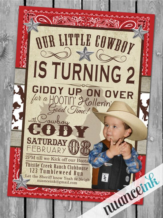 Cowboy Western Birthday Party Invitations Rodeo By Nuanceink 15 00