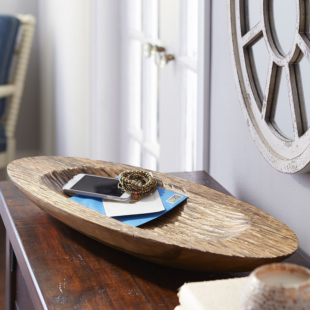 Carved Wooden Oval Decorative Bowl | Pier 1 Imports