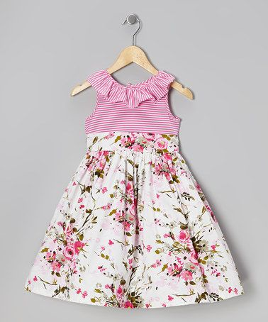 358d4d763290a Take a look at this Pink & White Floral Stripe Ruffle Dress - Girls by  Marmellata on #zulily today!