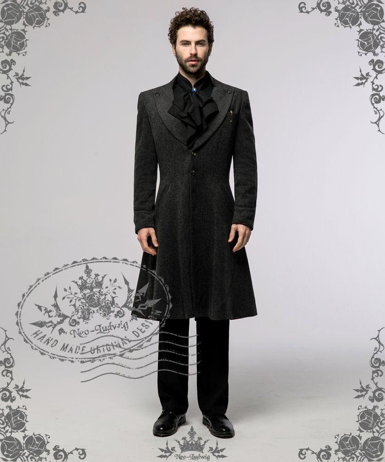 Elegant Gothic Aristocrat Black&Grey Tweed Trench Long Frock Coat ...