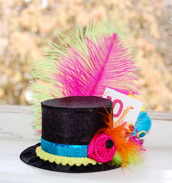 Mad Hatter Mini Top Hat in NEON colors by LittleLadyAccessory | Tea ...