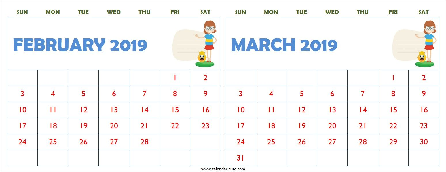 february march 2019 calendar clipart printable [ 1549 x 600 Pixel ]