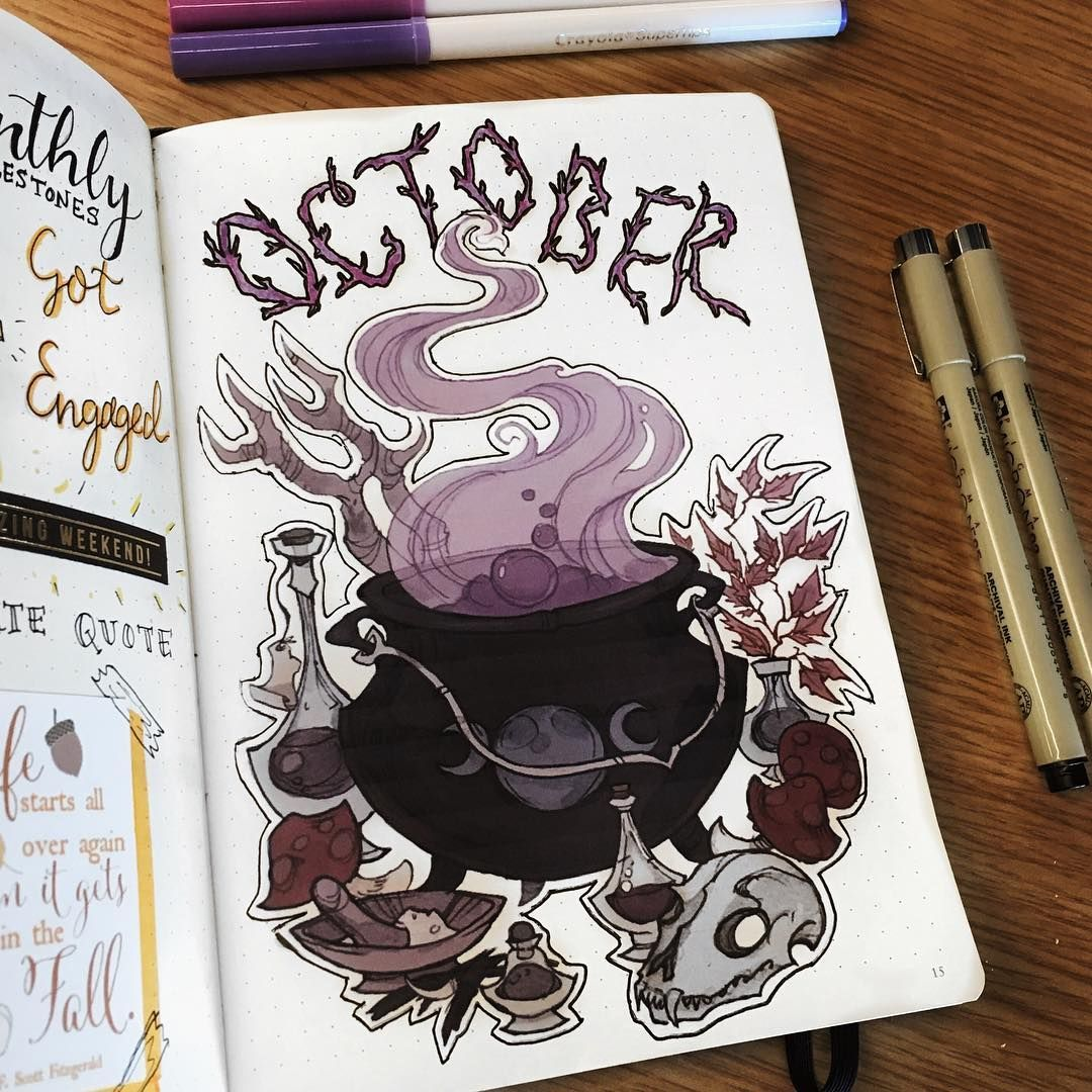 33 Awesome October bullet journal cover spreads   My Inner Creative