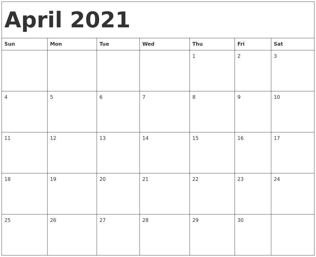 Printable Calendar April 2021 Di 2020