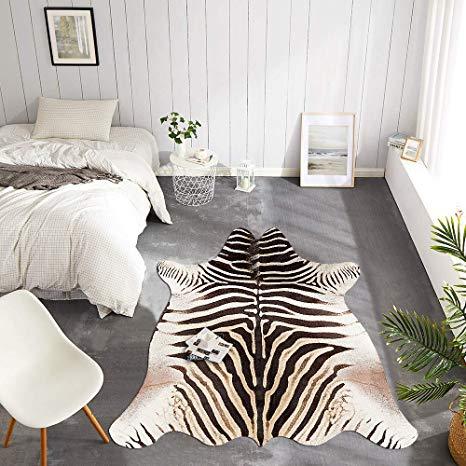 Amazon Com Jinchan Zebra Print Area Rug Faux Skin Cowhide Animal Design Mat Safari Rug Indoor Floorcov Zebra Print Bedroom Printed Rug Bedroom Zebra Print Rug