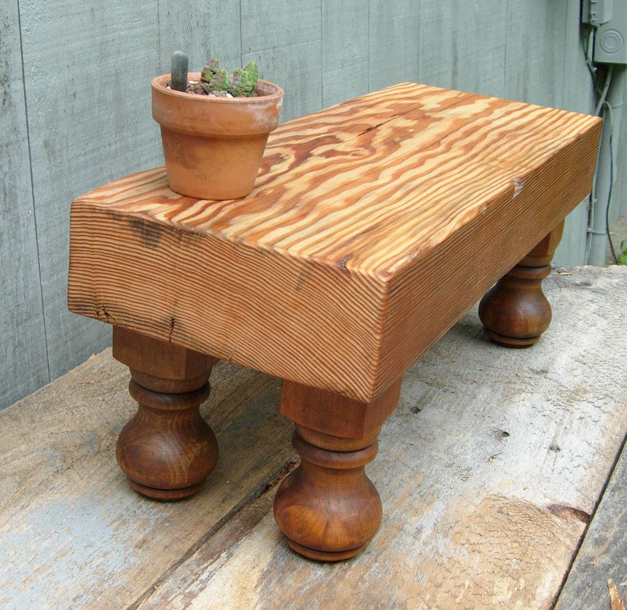reclaimed douglas fir wood table handmade plant stand buche de bois et compagnie log are. Black Bedroom Furniture Sets. Home Design Ideas