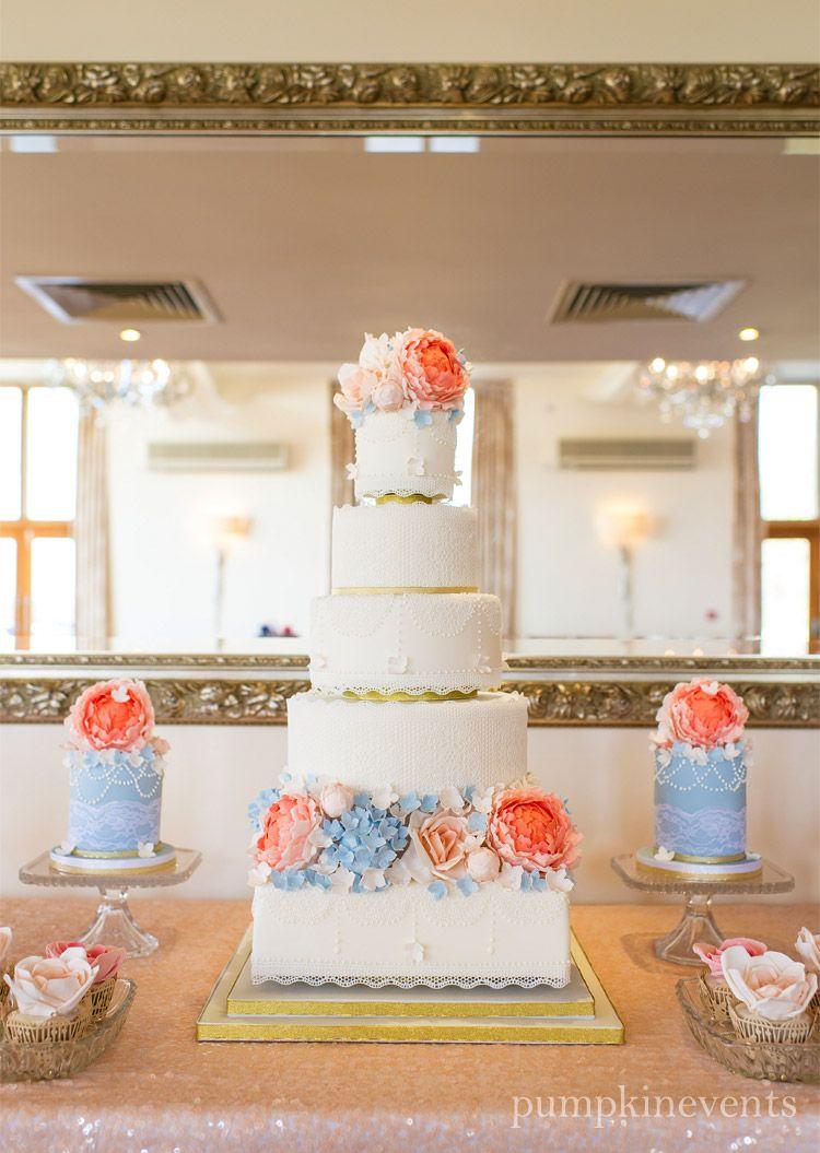 Coral powder blue cake coral wedding cakes wedding