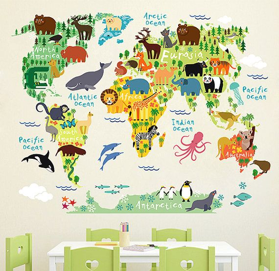 kcik1633 full color wall decal world map animal children 39 s bedroom mappemonde murale et chambres. Black Bedroom Furniture Sets. Home Design Ideas