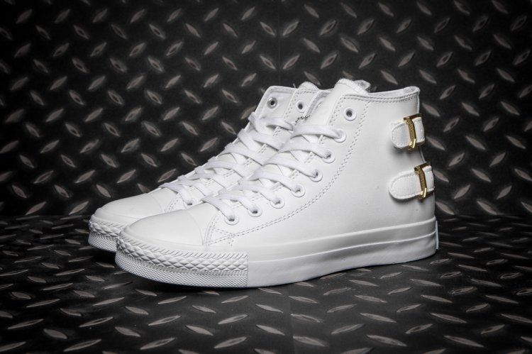 f04c946b1e24fe Monochrome White Converse All Star Buckle Back Leather High Tops  converse   shoes
