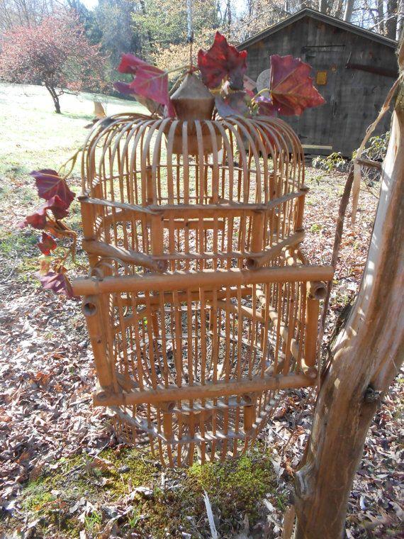 Large Hanging Bamboo Birdcage by RememberingDiane on Etsy, $68.75