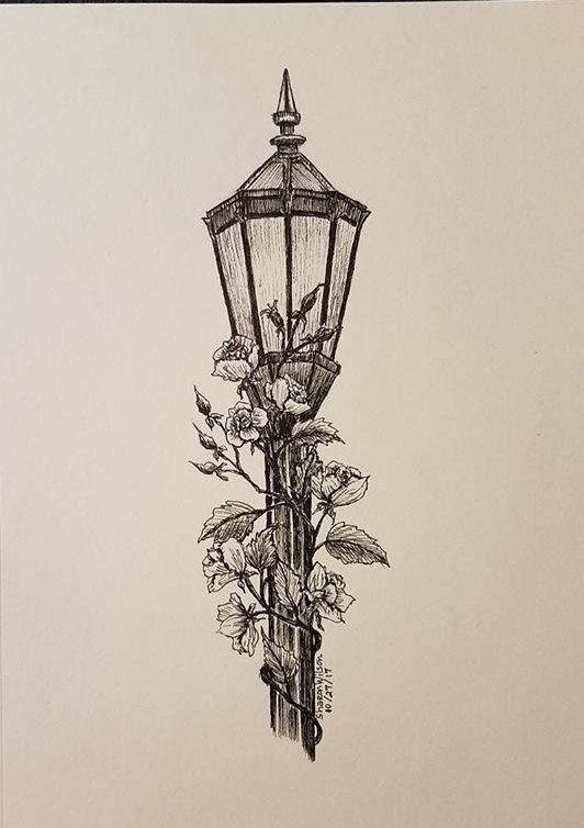 Lamp post- Original 5 x 7 Ink drawing #skizzenkunst