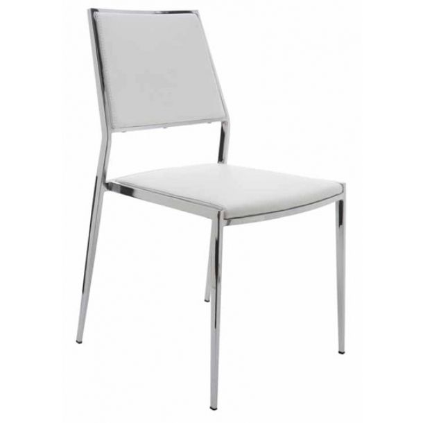 Elena Dining Chair Stackable White Naugahyde White Dining
