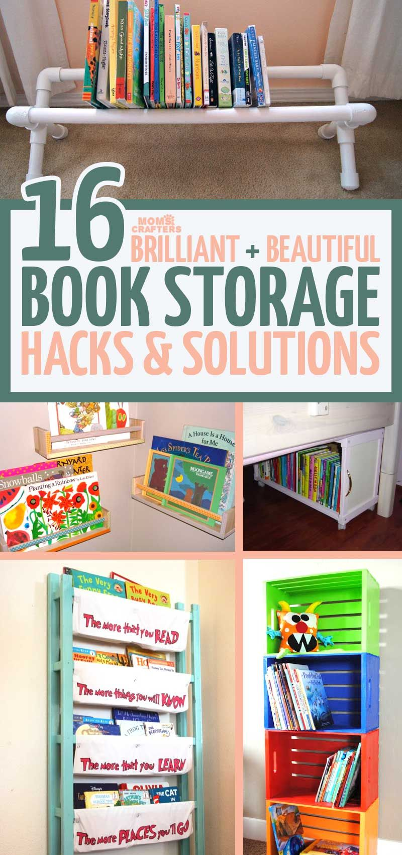 These adorable beautiful and practical kids book storage hacks and solutions will help you with your playroom organization while encouraging kids to read!  sc 1 st  Pinterest & 16 Kids Book Storage Hacks and Solutions | Moms and Crafters: On the ...