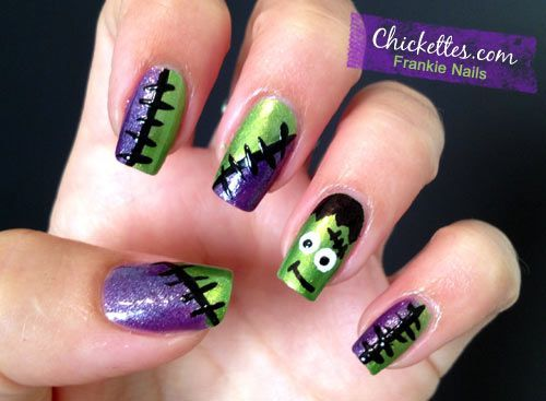 14 Halloween Frankenstein Nail Designs Top New Simple Home Manicure
