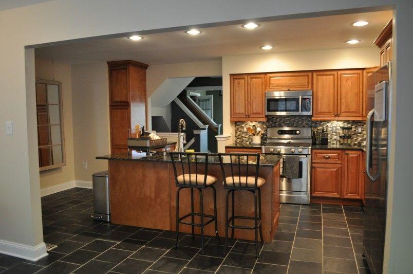 Red Oak Cabinets Black Slate Tile Kitchen Kitchen Flooring Floor Tile Design Wooden Kitchen Cabinets