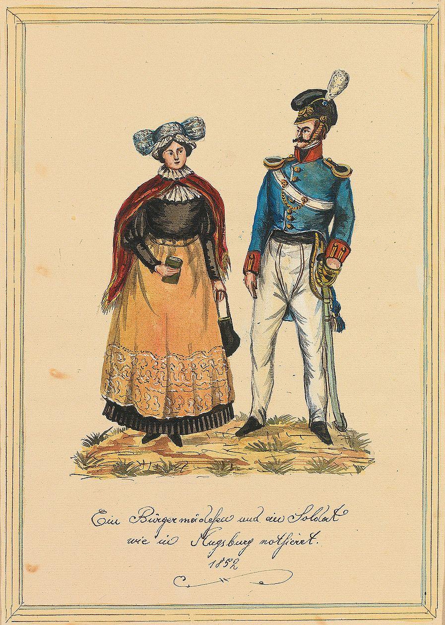 """Augsburger Trachtenbilder aus glanzvoller reichsstädtischer Zeit: """"Ein Bürgermädchen und ein Soldat wie in Augsburg nothieret. 1852"""""""