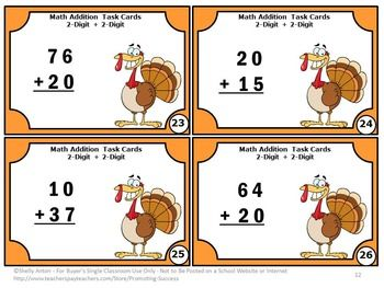 thanksgiving math centers double digit addition without regrouping task cards thanksgiving. Black Bedroom Furniture Sets. Home Design Ideas