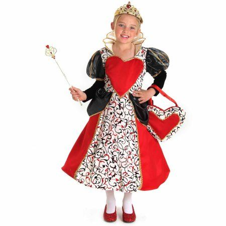 Queen of Hearts Child Halloween Costume, Girl's, Size: Large, Red