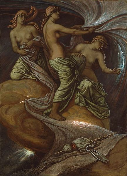 The Fates Gathering in the Stars by Elihu Vedder, 1887 CE, now in the Art Institute of Chicago. This image depicts the three Greek Fates - Clotho, Lachesis, and Atropos - spinning the thread of life, then marking it's length and cutting it at the fixed time of death (represented by the spindle, distaff, and spears in this image).