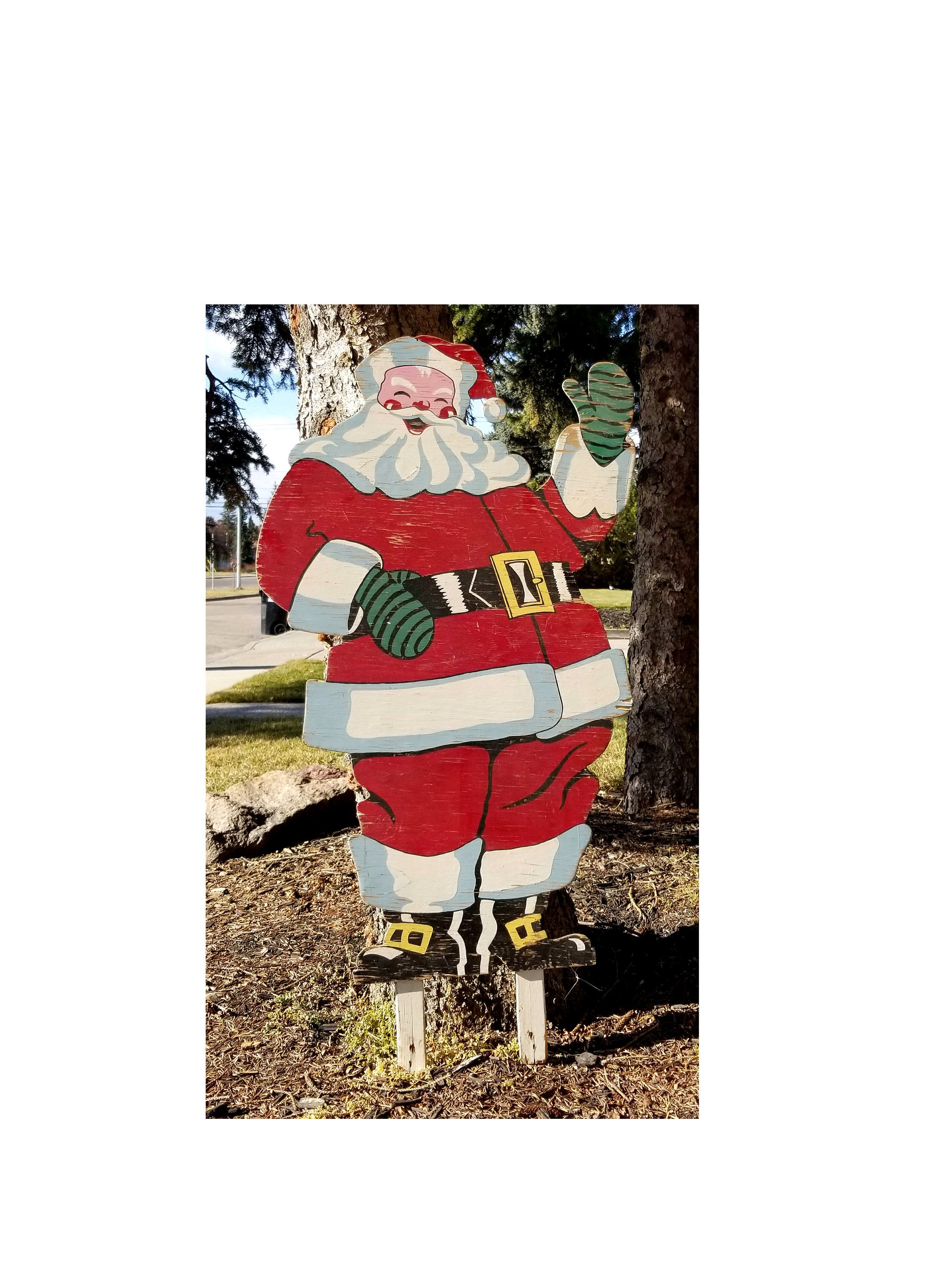 Vintage 1950s Plywood Santa Easi Bild Large 40 X 26 Inches Stand Hand Painted Outdoor Decoration Jolly Santa Claus L Santa Patterns Jolly Santa Vintage Christmas