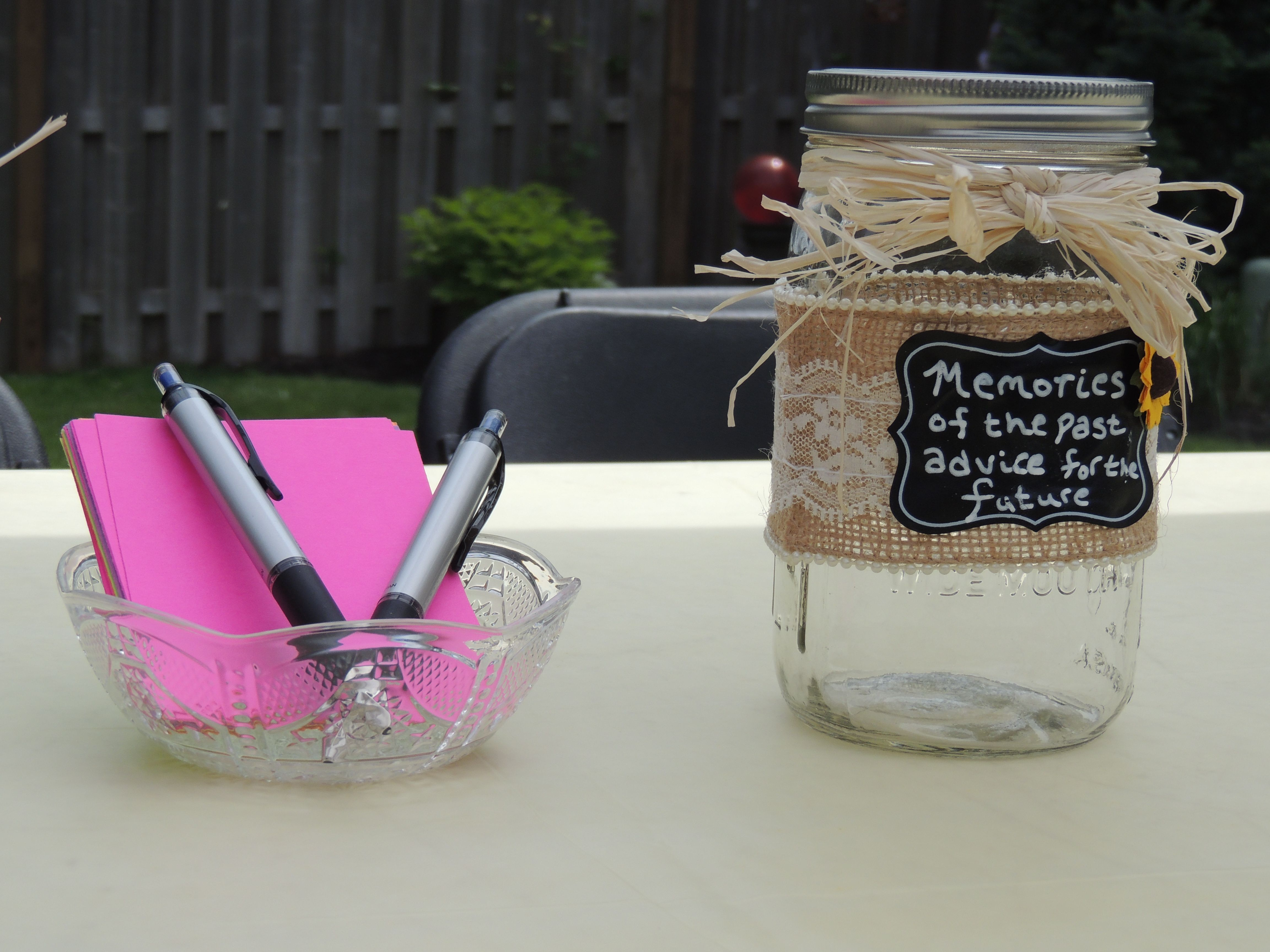 "Mason Jar Party Decorations Advise Jar For Grad Partywhite Paper ""words Of Wisdom And"