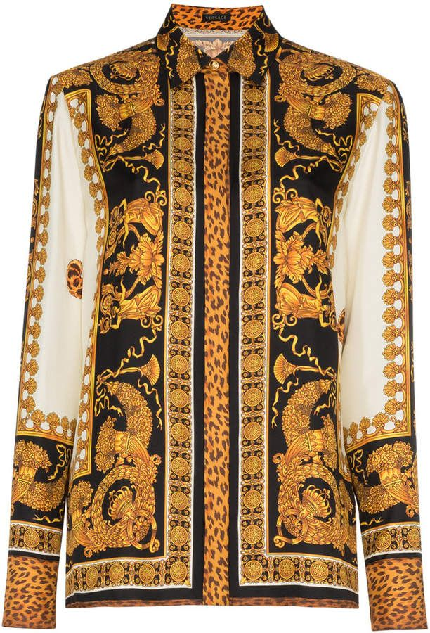 702a86602e1f92 Versace black gold silk print shirt