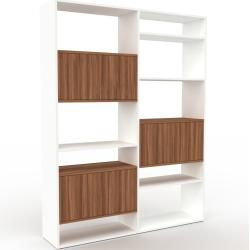 Photo of Storage wall white – individual designer shelf: doors in walnut – high quality materials – 152 x