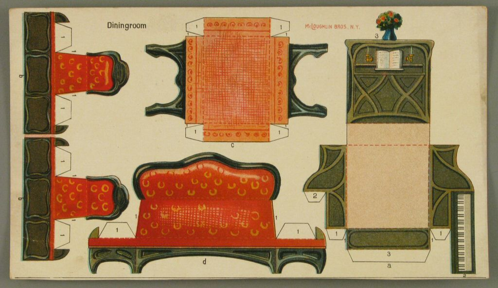 107.3835: Dining room | paper furniture | Dollhouses | Toys | Online Collections | The Strong