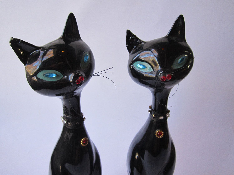 Vintage Kreiss Tall Black Cat Pair by jenscloset