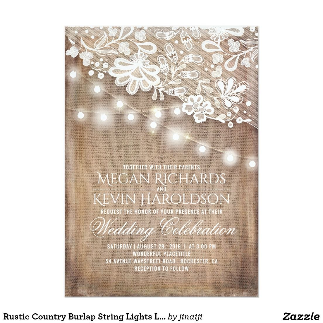 Rustic country burlap string lights lace wedding card - Rustic Country Burlap String Lights Lace Wedding Card