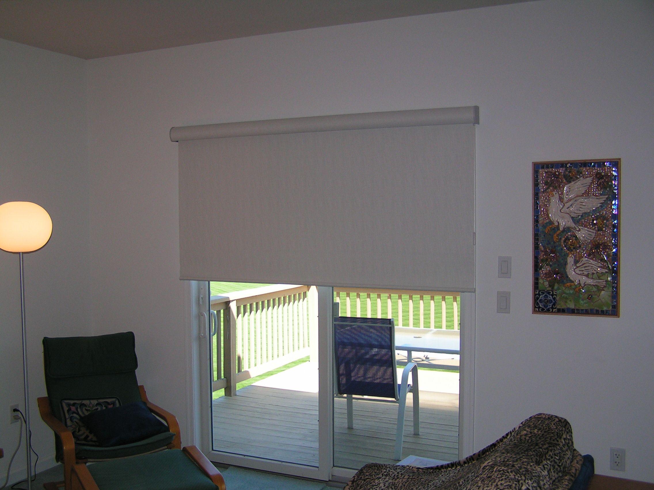 Big Roller Shade Over A Sliding Patio Door Roller Shades Living Room Living Room Patio Doors Sliding Door Window Treatments