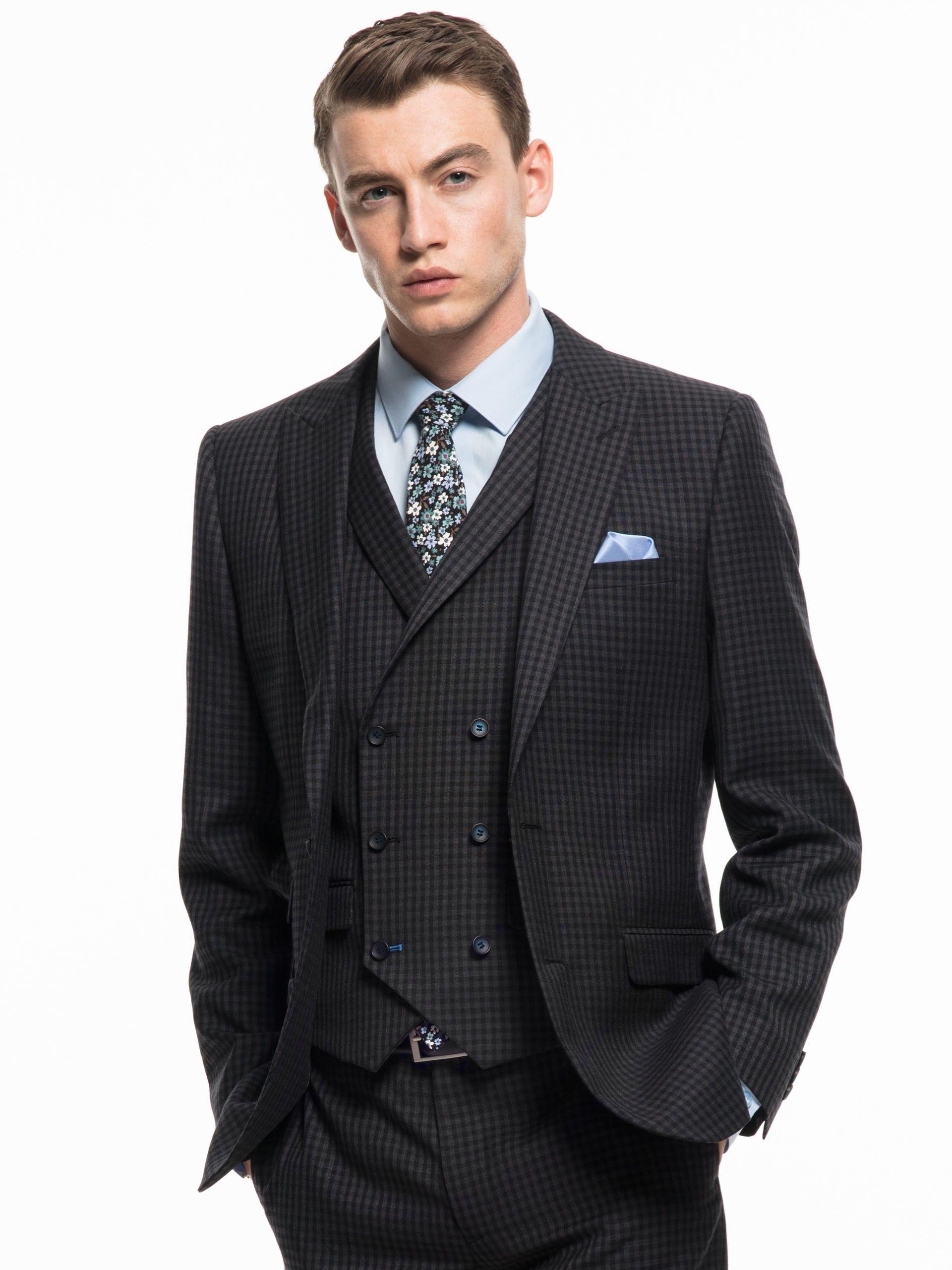 OneSix5ive Luxury Charcoal Check Double Breasted Waistcoat Slim ...