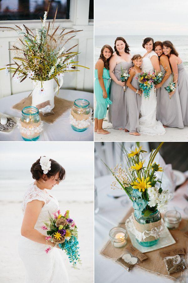 Rustic Grey And Aqua Beach Wedding Wedding Themes Colors