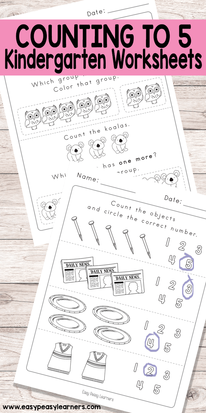 Counting To 5 Worksheets For Kindergarten Kindergarten Worksheets Worksheets Kindergarten [ 1400 x 700 Pixel ]